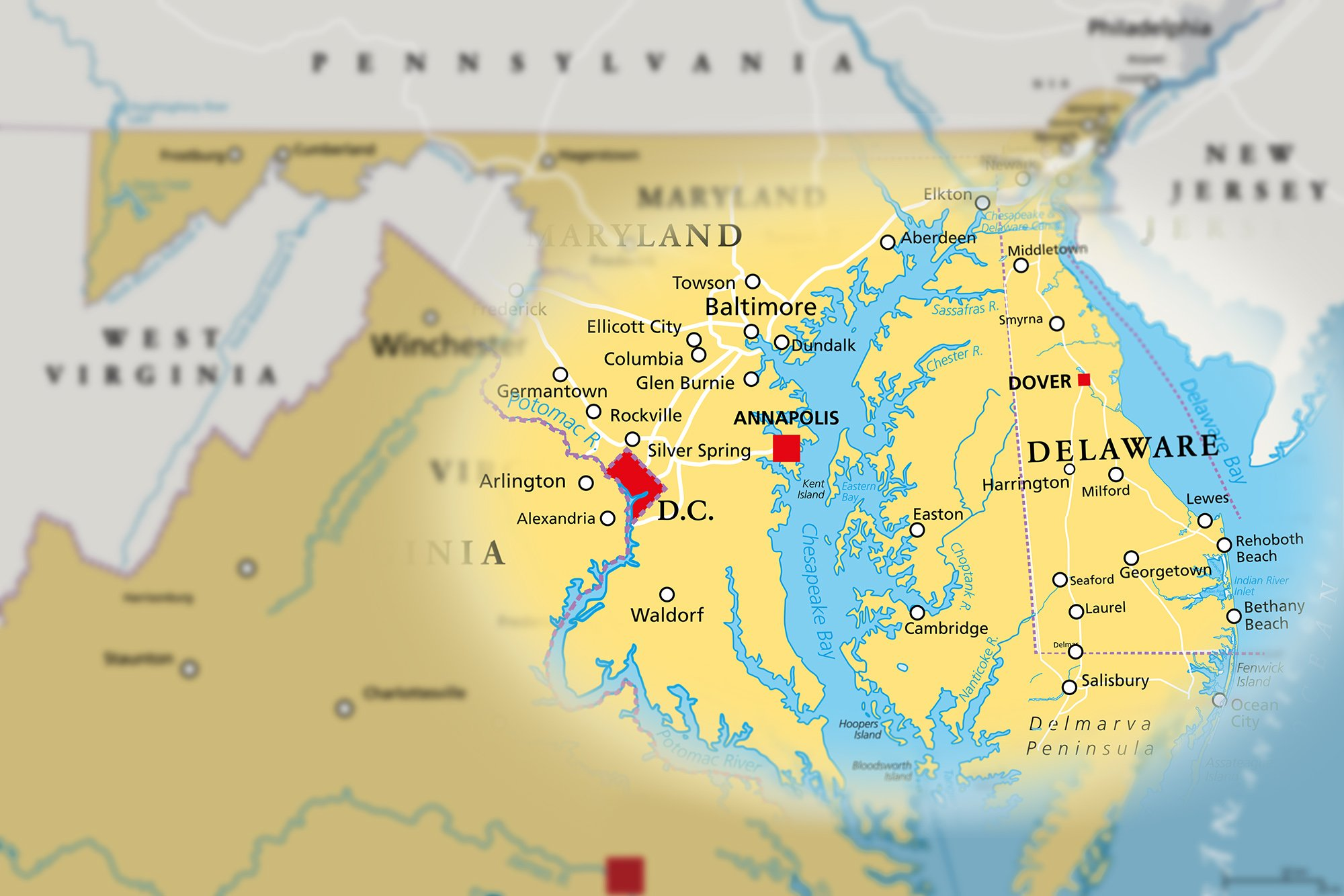 Map of Maryland, Delaware, Virginia areas served by Hawkins' Electricians